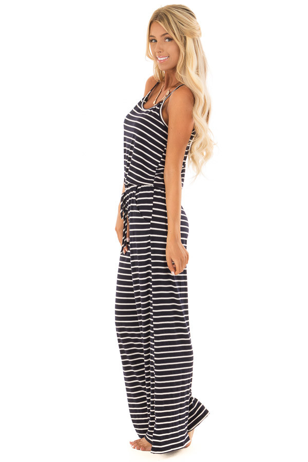 Navy Striped Spaghetti Strap Jumpsuit with Waist Tie side full body