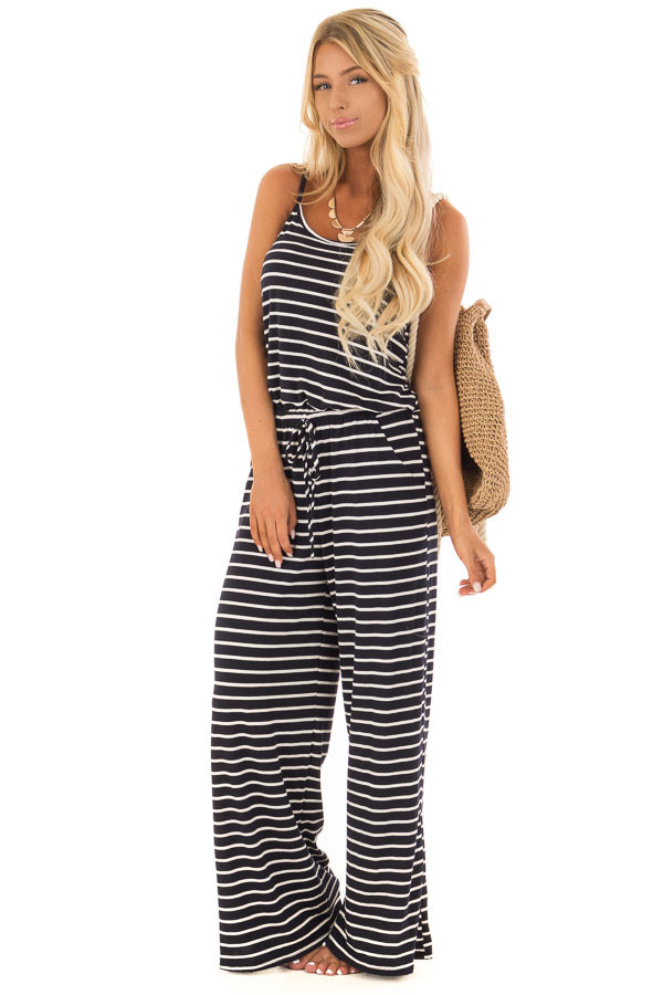Navy Striped Spaghetti Strap Jumpsuit with Waist Tie front full body