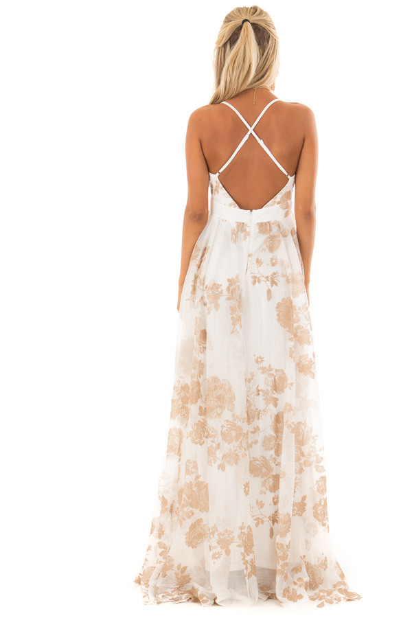 Nude and White Flowy Floral Maxi Dress back full body