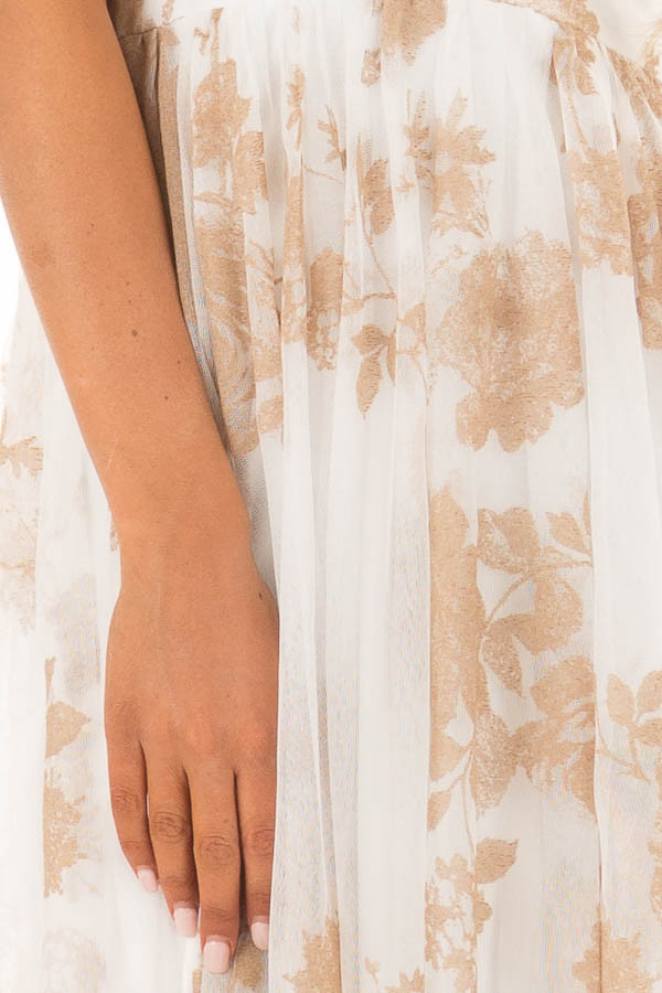 Nude and White Flowy Floral Maxi Dress detail
