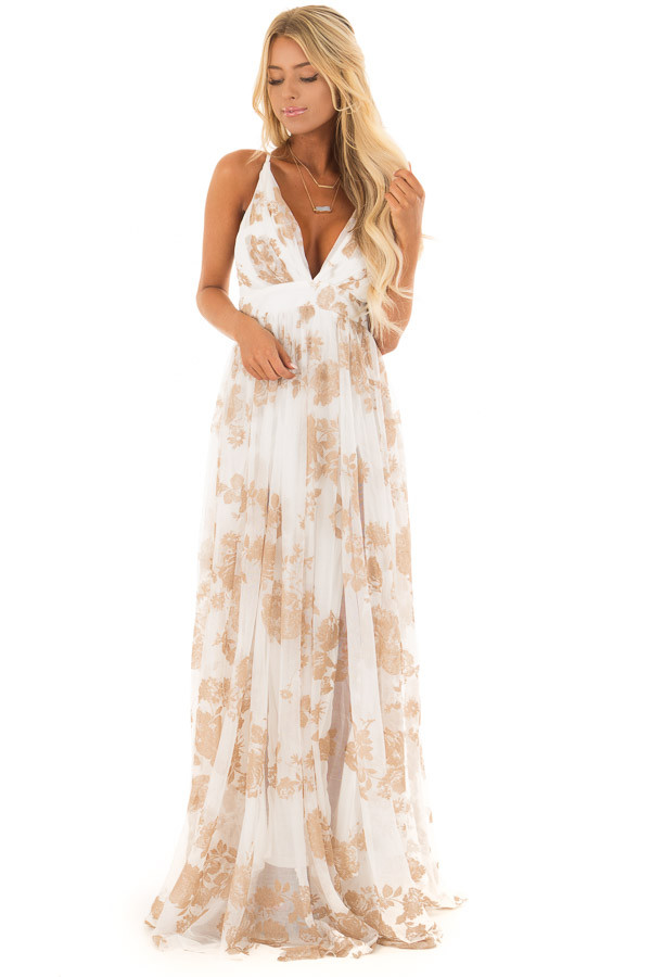 Nude and white flowy floral maxi dress lime lush boutique nude and white flowy floral maxi dress front full body mightylinksfo