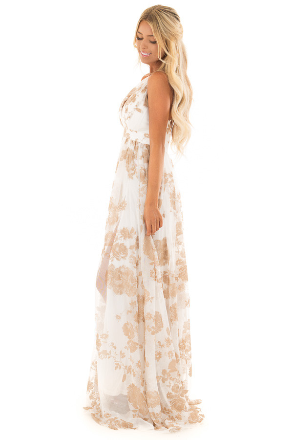 Nude and White Flowy Floral Maxi Dress - Lime Lush Boutique