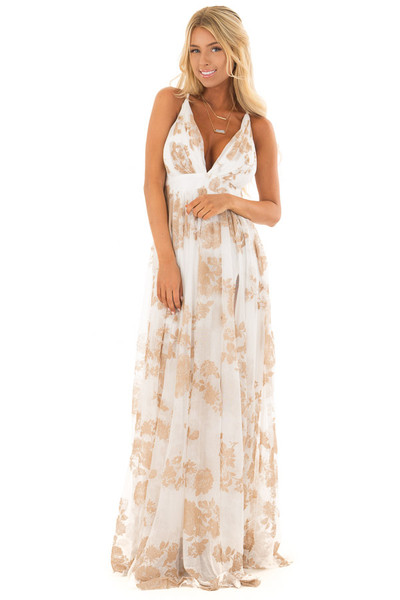 Nude and White Flowy Floral Maxi Dress front full body