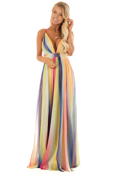 Rainbow Flowy Maxi Dress with Plunging V Neckline front full body