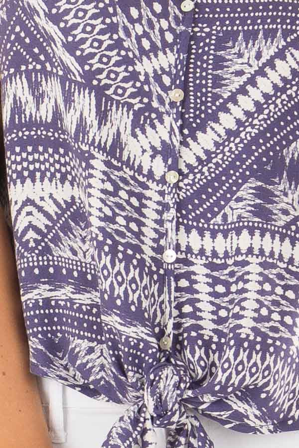 Prussian Blue and Cream Geo Print Top with Front Tie Detail detail
