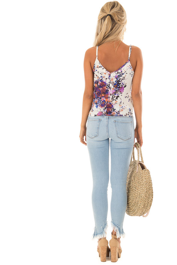 Cream and Lavender Floral Print Top with Front Tie Detail back full body