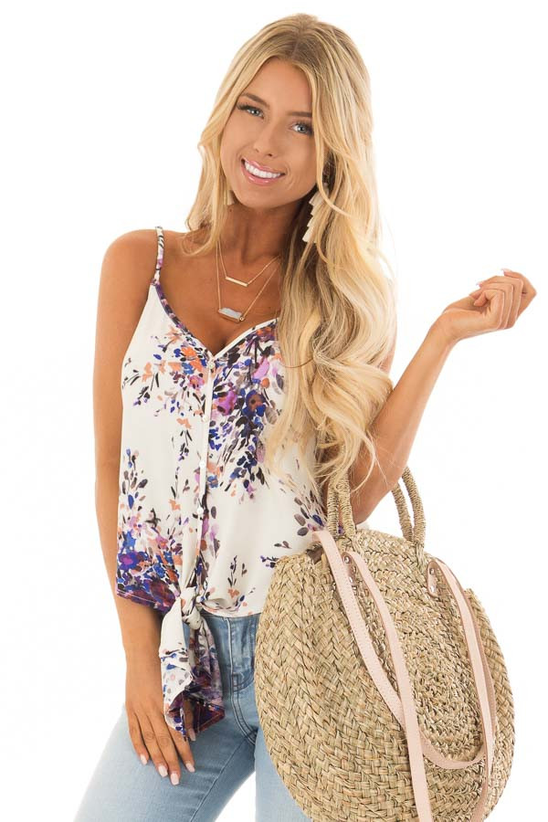 Cream and Lavender Floral Print Top with Front Tie Detail front close up