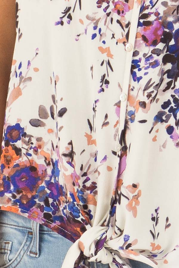 Cream and Lavender Floral Print Top with Front Tie Detail detail