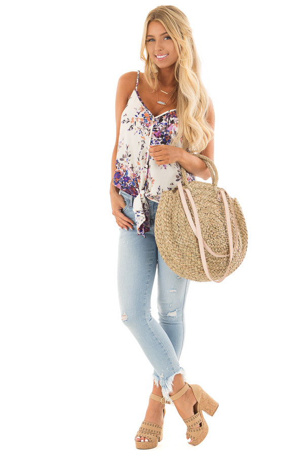 Cream and Lavender Floral Print Top with Front Tie Detail front full body