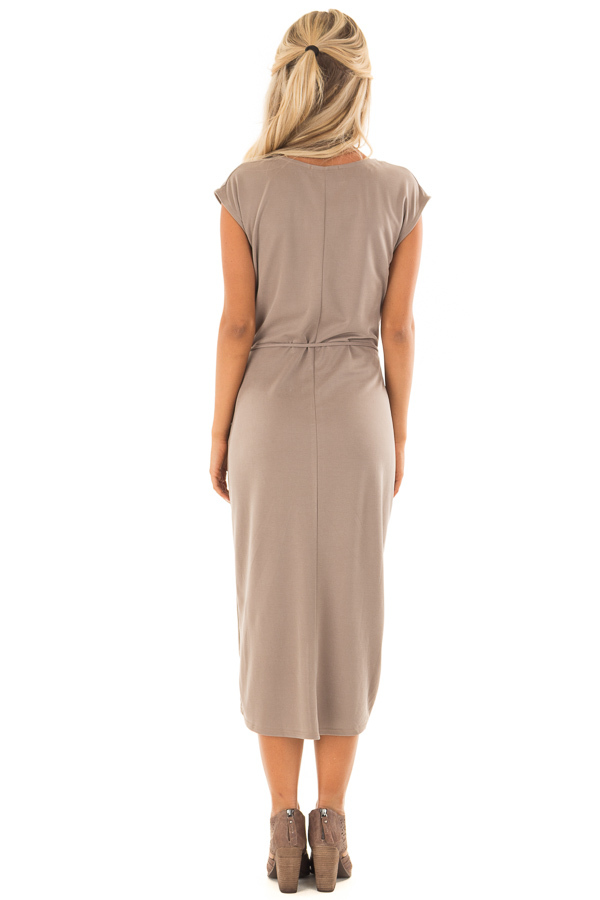 Dark Taupe Short Sleeve Wrap Style Midi Dress with Waist Tie back full body