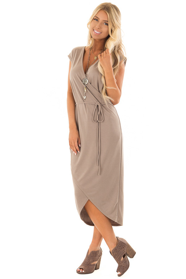 Dark Taupe Short Sleeve Wrap Style Midi Dress with Waist Tie front full body