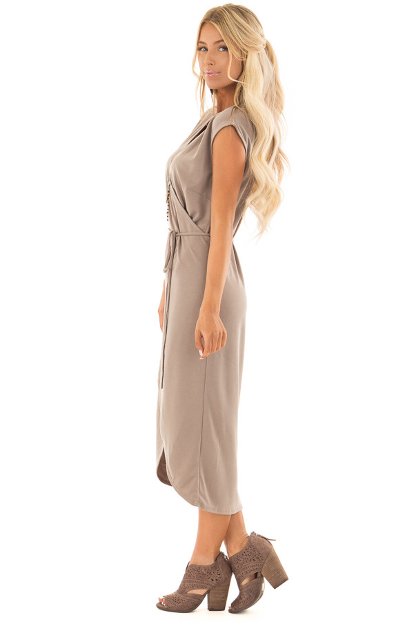 Dark Taupe Short Sleeve Wrap Style Midi Dress with Waist Tie side full body