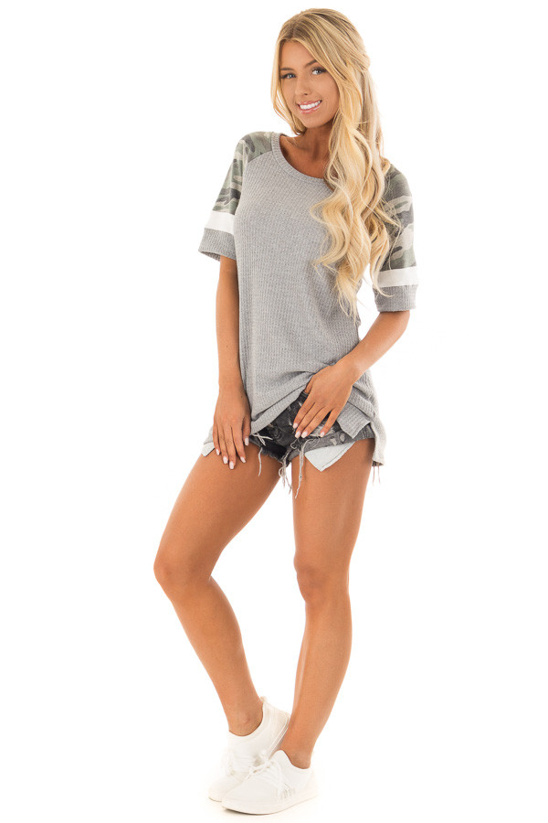 Fossil Grey Waffle Knit Top with Camo Sleeves front full body