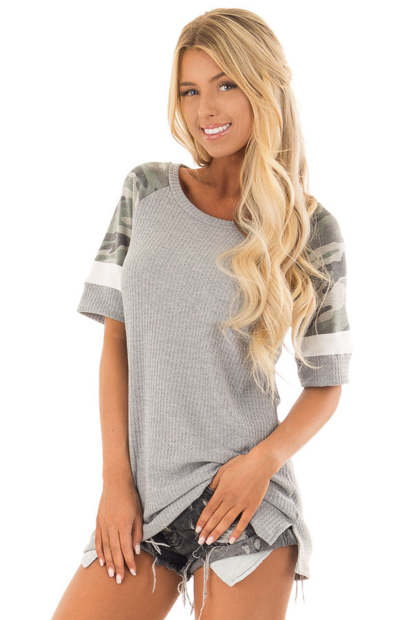 Fossil Grey Waffle Knit Top with Camo Sleeves front close