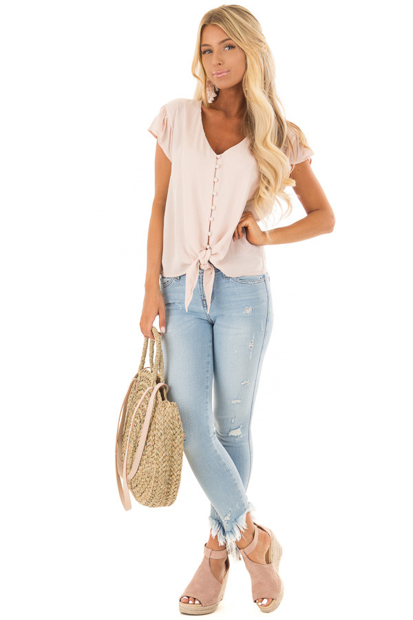 Pink Lemonade Button Up Top with Tie Detail front full body