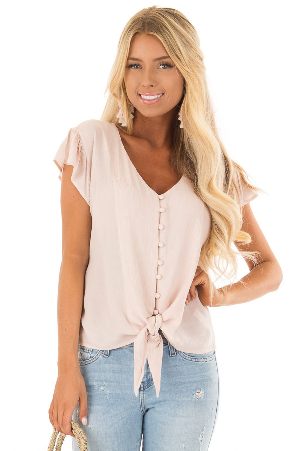 Pink Lemonade Button Up Top with Tie Detail front close up