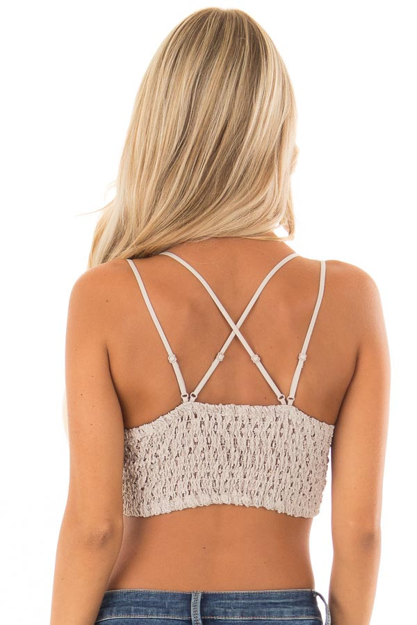 Champagne Lace Bralette with Adjustable Criss Cross Straps back close up