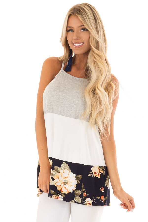 Navy and White Color Block High Neck Tank Top front close up
