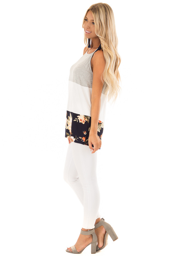 Navy and White Color Block High Neck Tank Top side full body