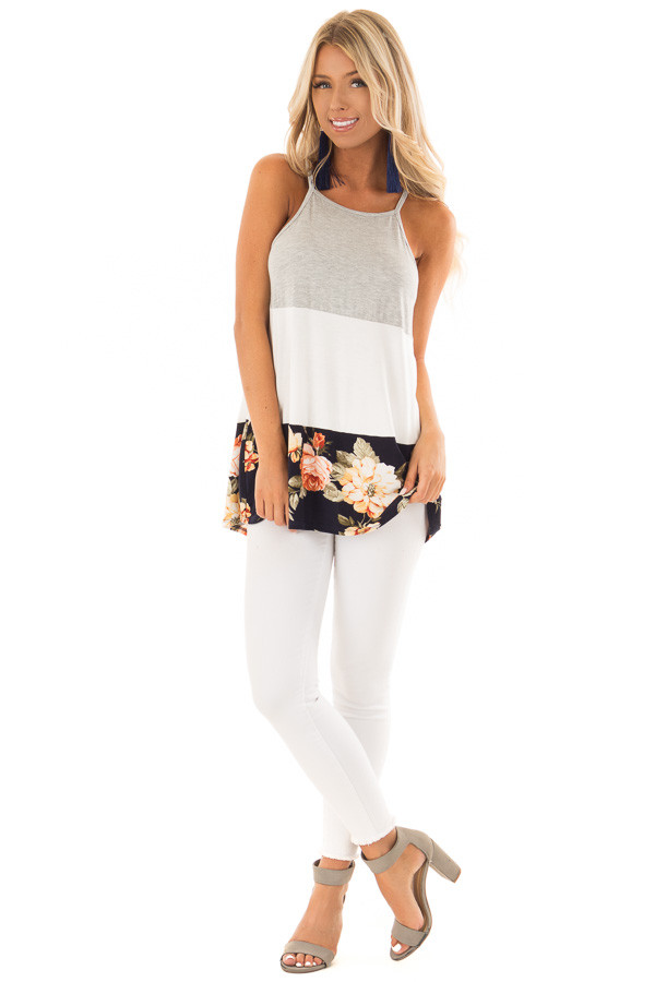 Navy and White Color Block High Neck Tank Top front full body