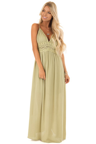 Light Olive Sleeveless Crochet Lace Maxi Dress front full body