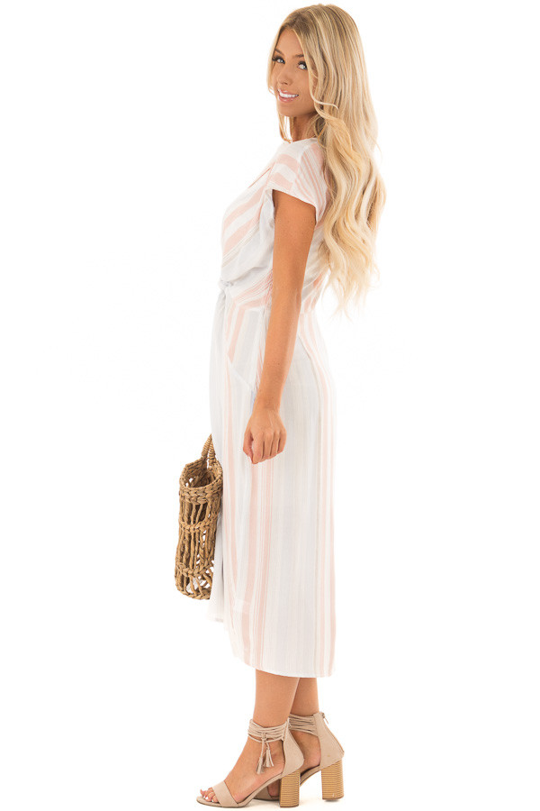 White Striped Short Sleeve Midi Dress with Front Knot Detail side full body