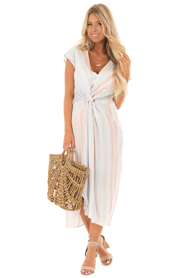 White Striped Short Sleeve Midi Dress with Front Knot Detail front full body