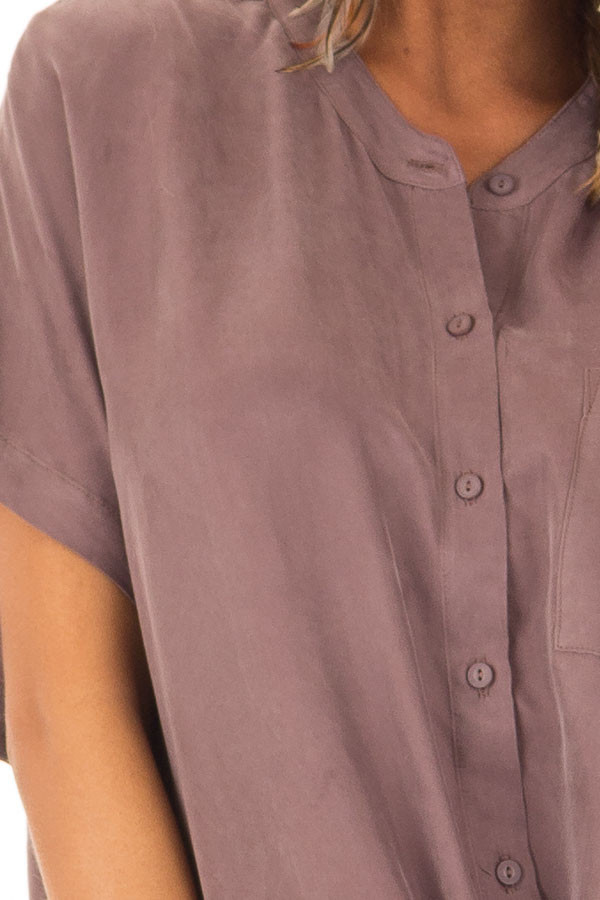 Vintage Orchid Button Up Front Tie Short Sleeve Top detail