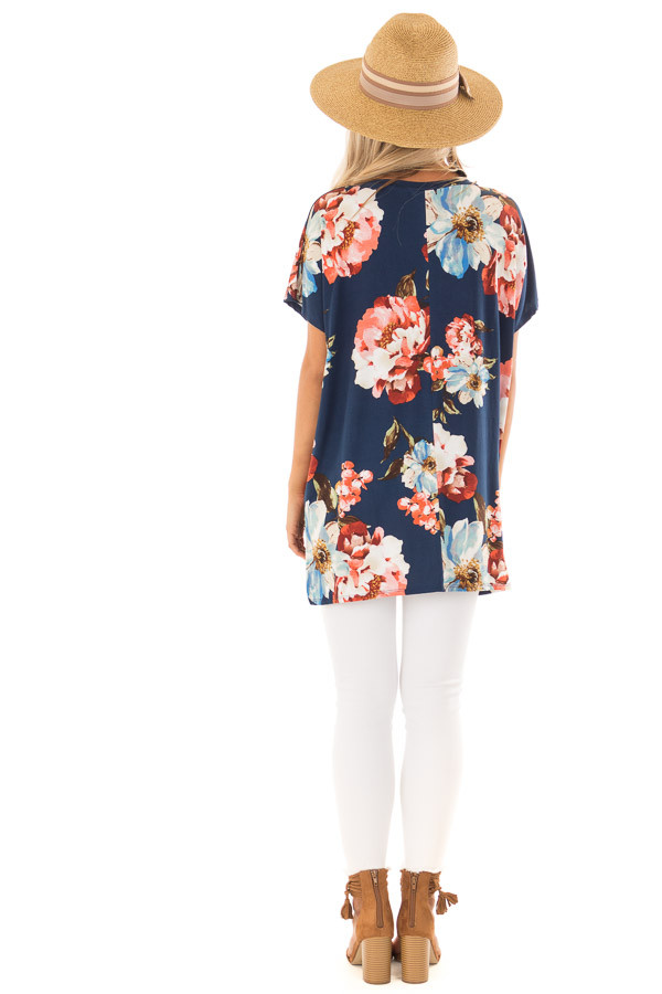Navy Floral V Neckline Top with Side Slits back full body
