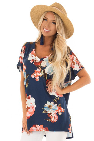 Navy Floral V Neckline Top with Side Slits front close up