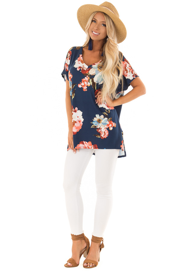 Navy Floral V Neckline Top with Side Slits front full body