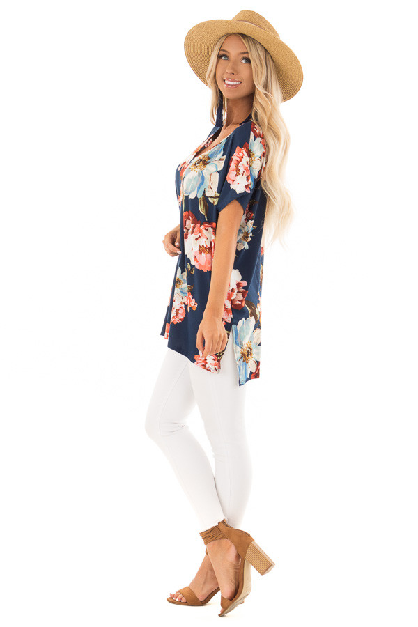 Navy Floral V Neckline Top with Side Slits side full body