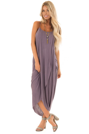 Lavender Wrap High Low Midi Dress front full body