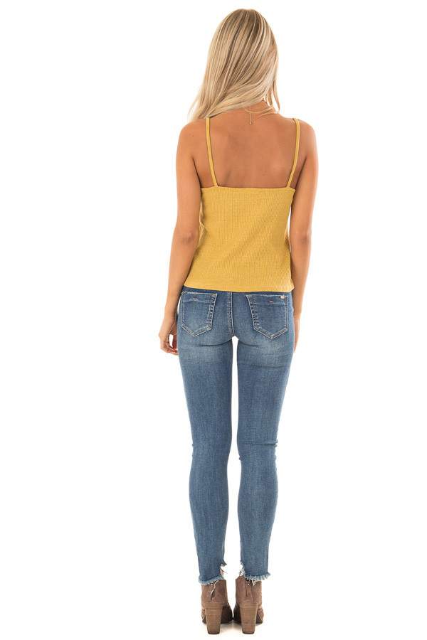 Mustard Ribbed Tank Top with Front Tie back full body