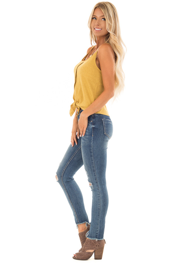 Mustard Ribbed Tank Top with Front Tie side full body