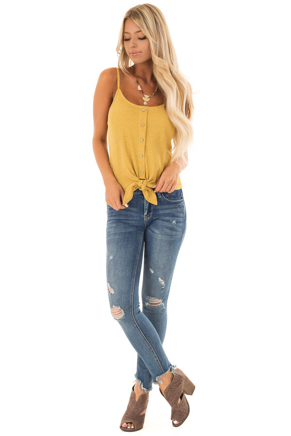 Mustard Ribbed Tank Top with Front Tie front full body