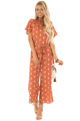 Rust Diamond Print Short Sleeve Jumpsuit with Waist Tie front full body