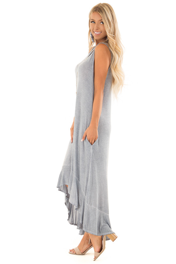 Slate Blue Mineral Wash High Low Sleeveless Dress side full body