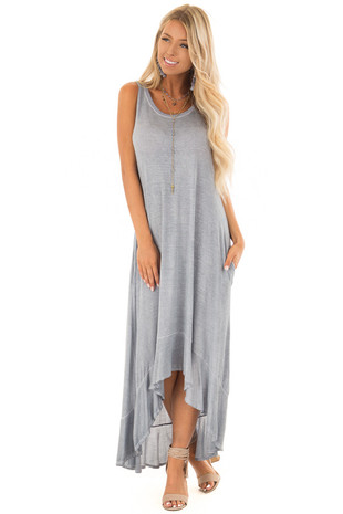Slate Blue Mineral Wash High Low Sleeveless Dress front full body