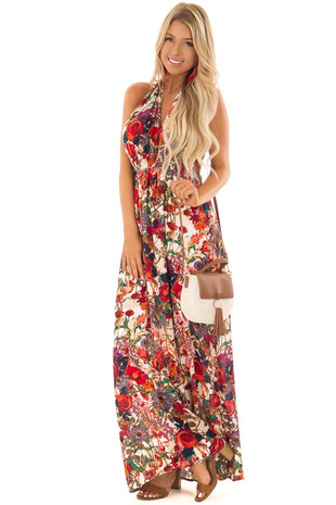 Tan and Cream Halter Maxi Dress with Floral Print front full body