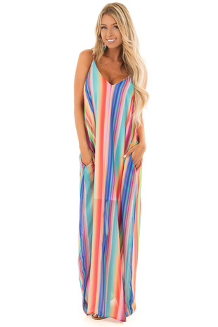 Rainbow Striped Maxi Dress with Hidden Pockets front full body