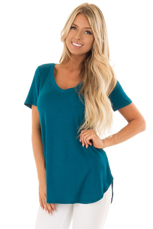 Teal V Neckline Comfy Top front close up