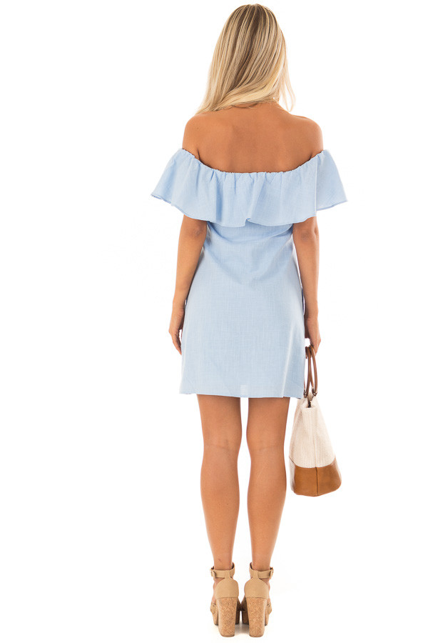 Powder Blue Off Shoulder Button Up Dress with Ruffle Detail back full body
