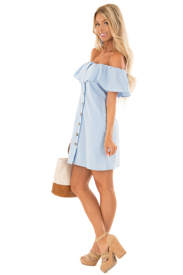 Powder Blue Off Shoulder Button Up Dress with Ruffle Detail side full body