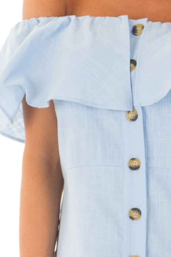 Powder Blue Off Shoulder Button Up Dress with Ruffle Detail detail