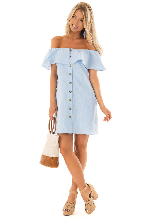 Powder Blue Off Shoulder Button Up Dress with Ruffle Detail front full body