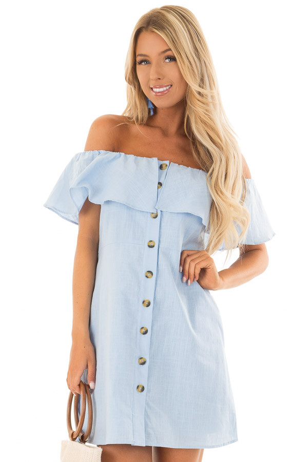 Powder Blue Off Shoulder Button Up Dress with Ruffle Detail front close up