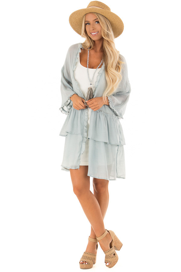 Dusty Blue Cardigan with Ruffle Detail front full body