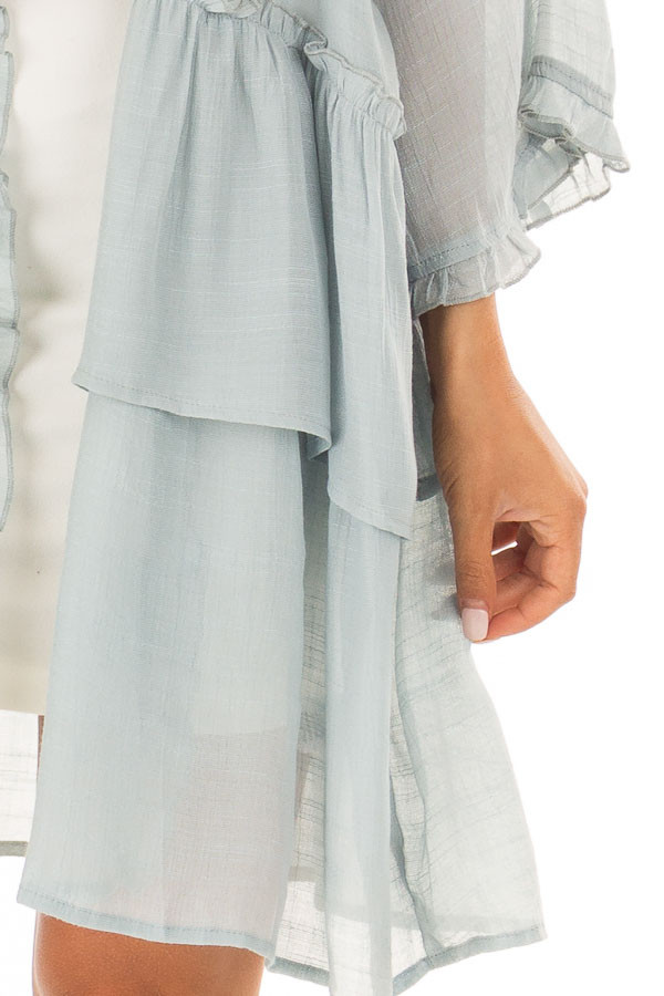 Dusty Blue Cardigan with Ruffle Detail detail