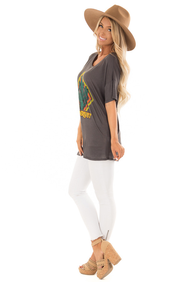 Charcoal 'Wanderlust' Graphic Print Top with Short Sleeves side full body